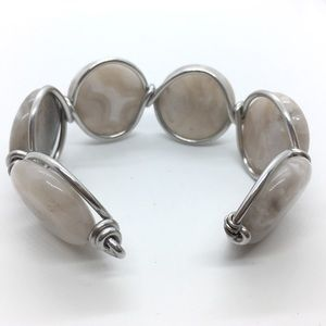 Stone Cuff Bracelet Handcrafted